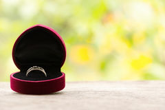 Red gift box with ring on background of greenery and flowers. Selective focus, toned image, film effect, macro, close-up Stock Image