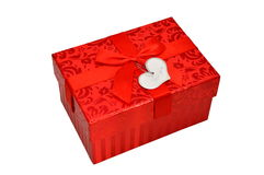 Red gift box with satin ribbon bow Stock Image