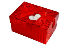 Red gift box with satin ribbon bow Stock Photo