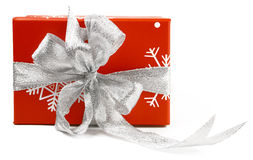 Red gift box with silver bow Stock Photo