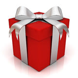 Red gift box with silver ribbon bow Royalty Free Stock Images