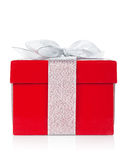 Red gift box with silver ribbon and bow Royalty Free Stock Photo