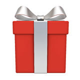 Red gift box with silver ribbon bow isolated on white background Royalty Free Stock Photography