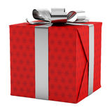 Red gift box with silver ribbon isolated on white Stock Image