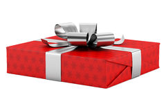 Red gift box with silver ribbon isolated on white Royalty Free Stock Image