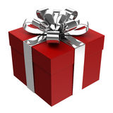 Red gift box with silver ribbon Stock Photo