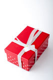 Red Gift Box. Single red gift box with silver ribbon on white background Royalty Free Stock Photos