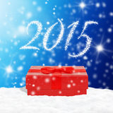 Red gift box on snow. Red gift box on a snow Royalty Free Stock Photo