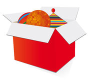 Red gift box with toys Stock Image