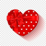 Red gift box for Valentines Day. Heart box with red pattern and bow .  on a transparent background. Graphic. Element for your design. Vector illustration Stock Image