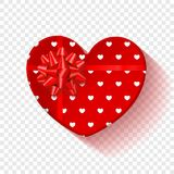 Red gift box for Valentines Day. Heart box with red pattern and bow .  on a transparent background. Graphic. Element for your design. Vector illustration Stock Photo