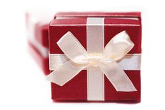Red gift box on white background Royalty Free Stock Image