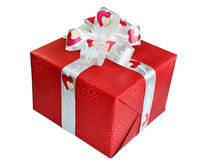 Red gift box on white background. Royalty Free Stock Image