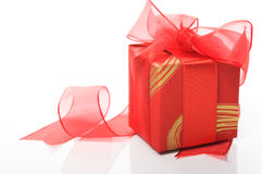 Red gift box on the white Royalty Free Stock Images