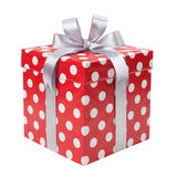 Red gift box with white dots isolated Royalty Free Stock Photography