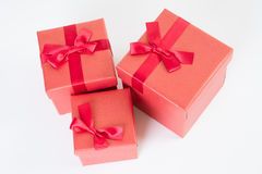 Red gift box on white Royalty Free Stock Image