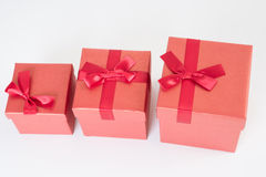 Red gift box on white Royalty Free Stock Photo
