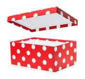 Red gift box with white polka dots Stock Image