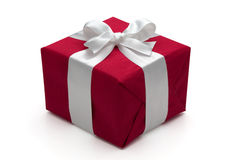 Red gift box with white  ribbon. Stock Image