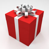 Red gift box with white ribbon Royalty Free Stock Image