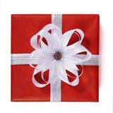 Red gift box with white ribbon bow Stock Image