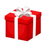Red gift box with white ribbon and bow. Vector illustration. Royalty Free Stock Images