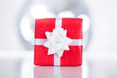 Red Gift Box With White Ribbon Stock Images