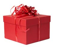 Red Gift Box With Bow Royalty Free Stock Photo