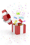 Red Gift Box With Discounts Royalty Free Stock Photos