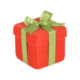 Red Gift Box With Green Ribbon Royalty Free Stock Photography