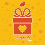 Red gift box on the yellow background. Valentine`s Day gift. Vec Stock Photos