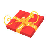Red gift box with yellow bow cartoon vector Illustration Royalty Free Stock Images