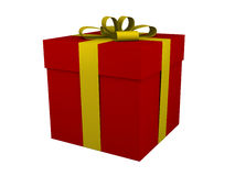 Red gift box with yellow ribbon and bow isolated. On white royalty free illustration