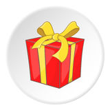 Red gift box with yellow ribbon icon cartoon style Royalty Free Stock Photos