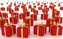 Red Gift Boxes. (3d render Stock Photos