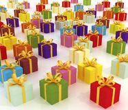 Red Gift Boxes. Colored Gift Boxes (3d render Stock Photos