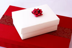 Red gift boxes Stock Photo