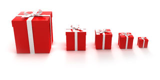 Red gift boxes. An assortment of red gift boxes in different sizes stock illustration