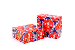 Red Gift boxes. Stacked with red ribbon on white background Royalty Free Stock Images