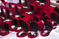 Red gift boxes. Celebration of Martisor Royalty Free Stock Image