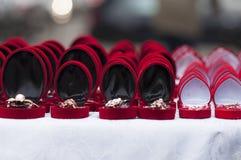 Red gift boxes. Celebration of Martisor Stock Images