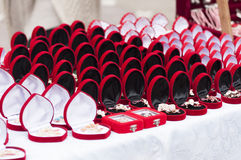 Red gift boxes. Celebration of Martisor Stock Photo