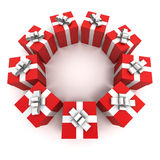 Red gift boxes circle Stock Photography