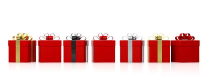 Red gift boxes with colourful ribbons on white background. 3d illustration Royalty Free Stock Images