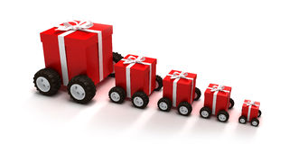 Red gift boxes convoy. 3D rendering of a line of red gift boxes with a white ribbons on wheels Stock Photo