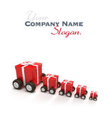 Red gift boxes convoy Royalty Free Stock Image
