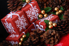 Red gift boxes among fir cones as Xmas background Stock Image