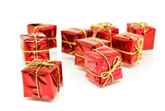 Red gift boxes with gold ribbon Stock Photos