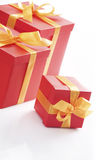 Red gift boxes with gold ribbon Stock Photo