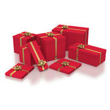 Composition of red gift boxes on white background Stock Photo
